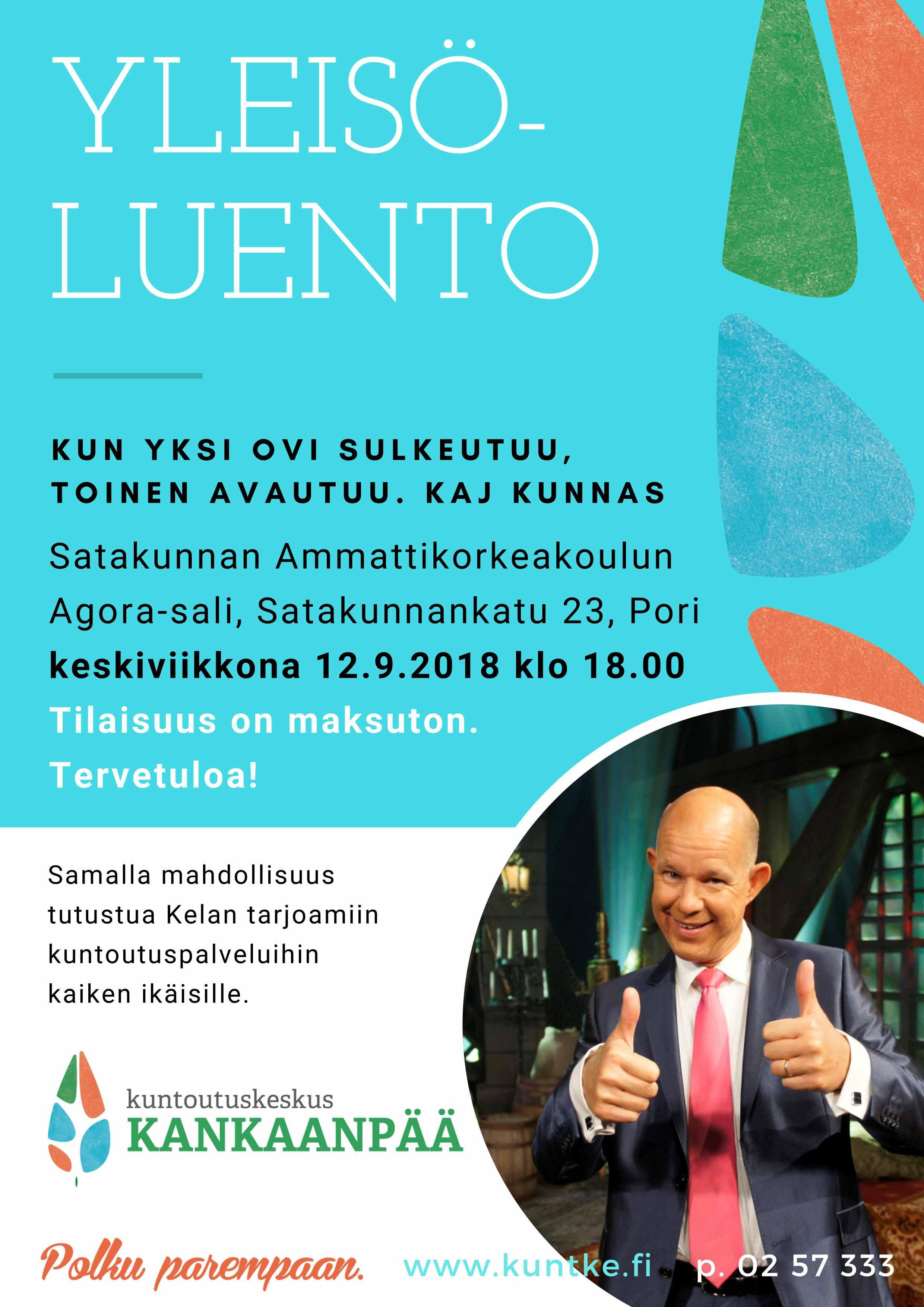 Kaj Kunnas, yleisöluento Porissa 12.9.2018